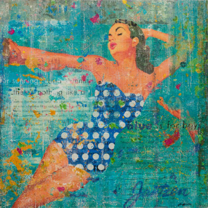 Blue Swimsuit With Polka Dots 36x36