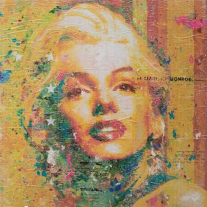 Miss Monroe on Yellow 24x24