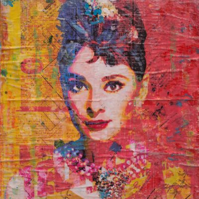 Hepburn On Orange 16x16