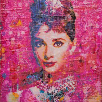 Hepburn On Pink 16x16