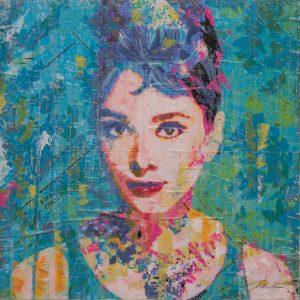 Hepburn On Blue 16x16