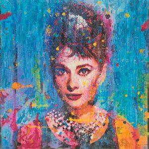Audrey on Blue 36x36