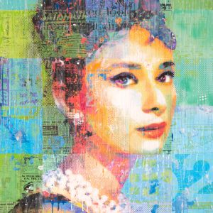 Audrey On Green And Blue 36x48