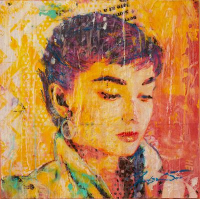 Audrey On Yellow 12x12