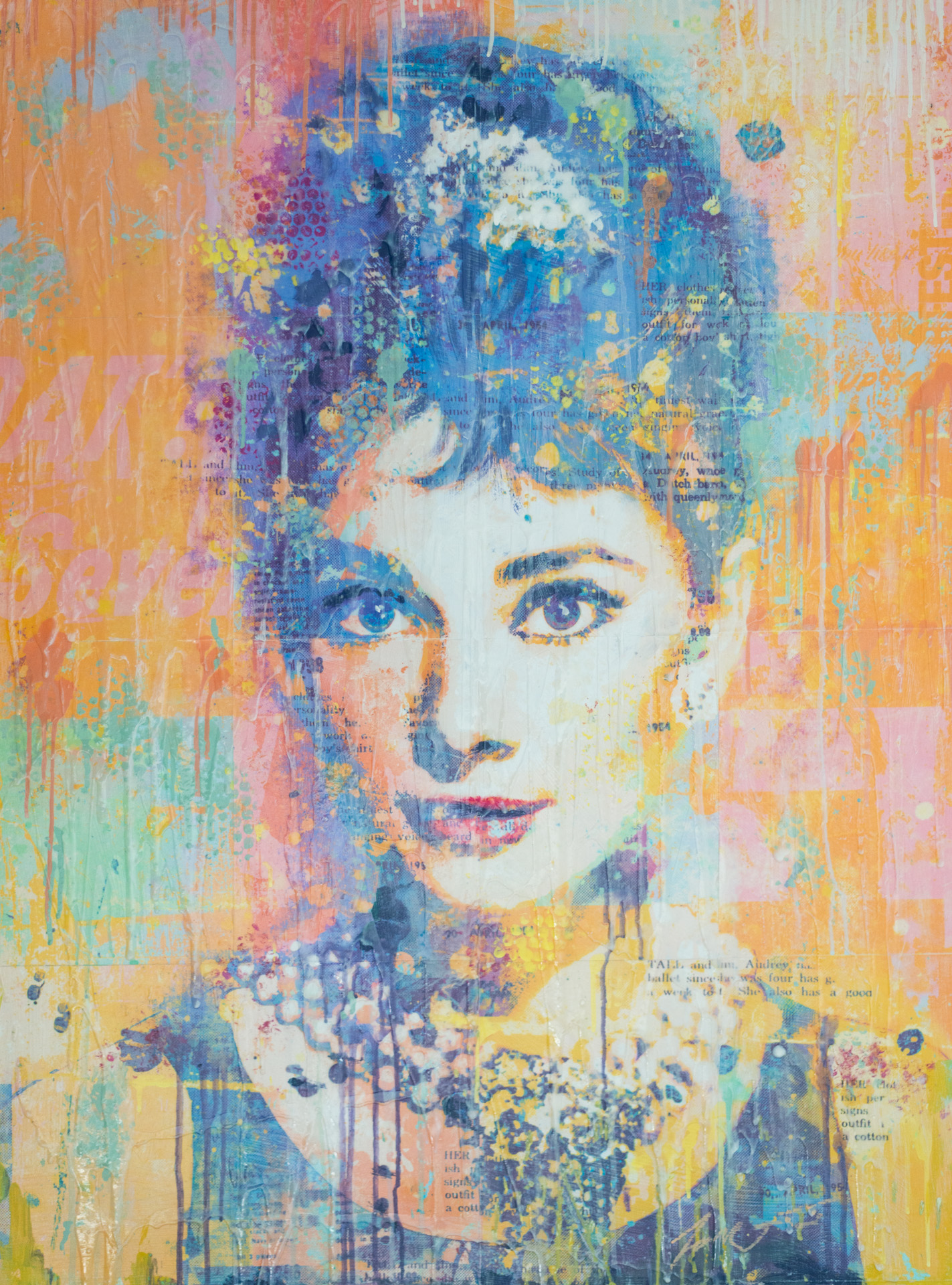Audrey On Orange 40x30